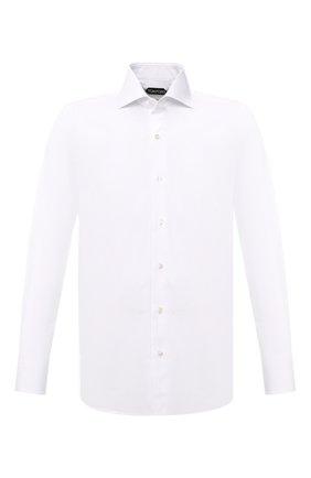 Мужская хлопковая сорочка TOM FORD белого цвета, арт. QFT000/94S3AX | Фото 1