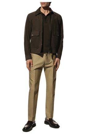 Мужской хлопковые брюки TOM FORD бежевого цвета, арт. BV141/TFP224 | Фото 2