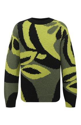Мужской шерстяной свитер DRIES VAN NOTEN зеленого цвета, арт. 202-21232-1703 | Фото 1 (Материал внешний: Шерсть; Длина (для топов): Стандартные; Рукава: Длинные; Стили: Кэжуэл, Бохо)
