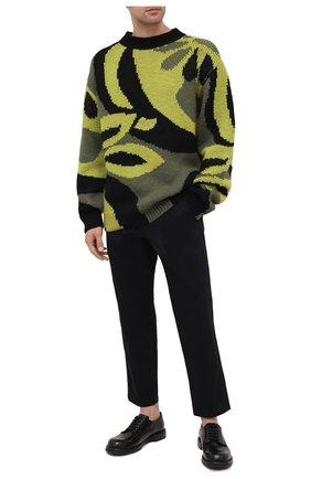 Мужской шерстяной свитер DRIES VAN NOTEN зеленого цвета, арт. 202-21232-1703 | Фото 2 (Материал внешний: Шерсть; Длина (для топов): Стандартные; Рукава: Длинные; Стили: Кэжуэл, Бохо)
