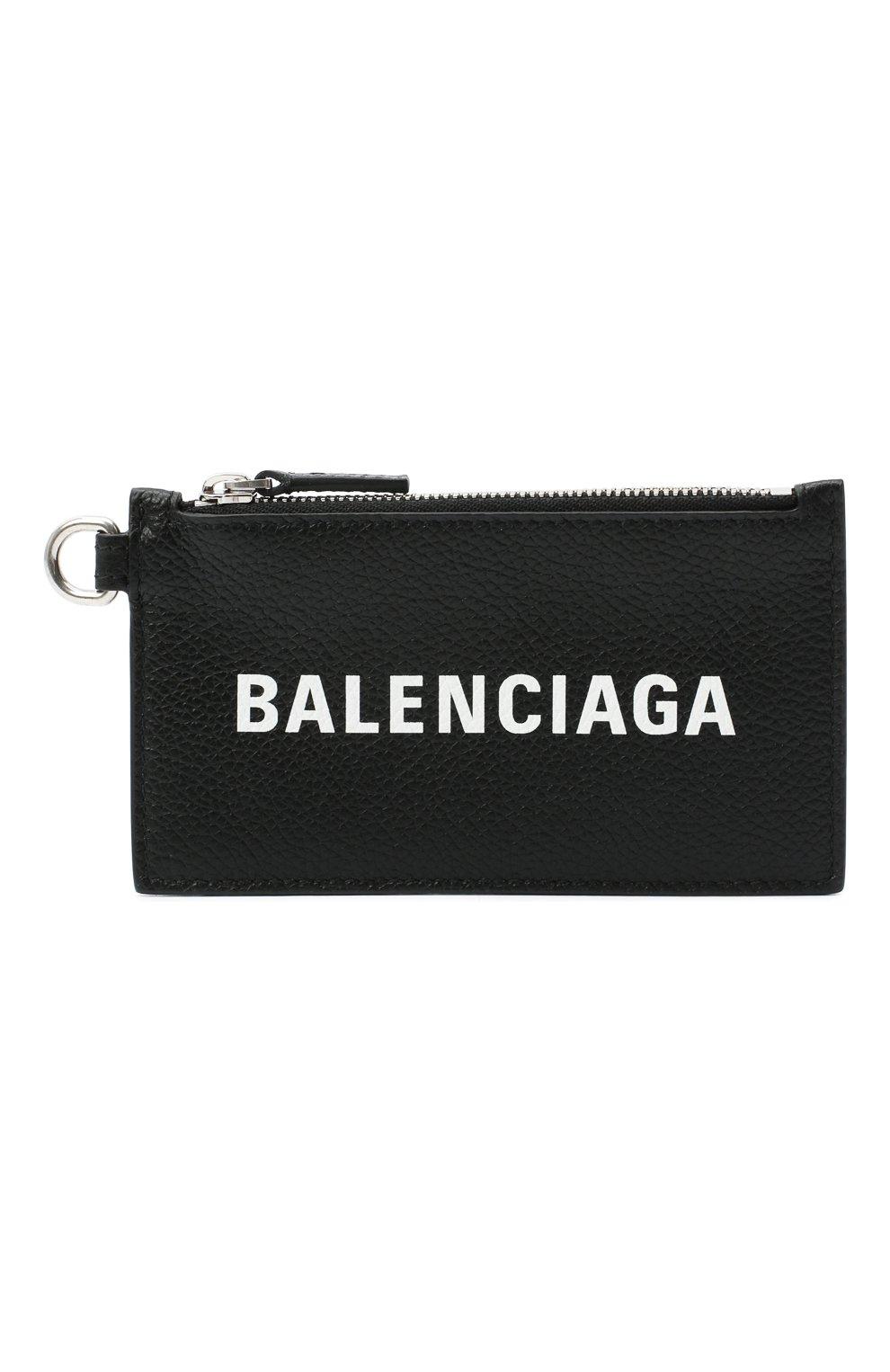 Мужской кожаный футляр для кредитных карт BALENCIAGA черного цвета, арт. 594548/1IZI3 | Фото 1