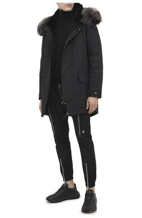 Мужская пуховая парка с меховой подкладкой YVES SALOMON черного цвета, арт. 21WHM00496A03X | Фото 2