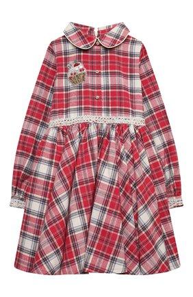 Детское хлопковое платье EIRENE бордового цвета, арт. 2021102   Фото 1