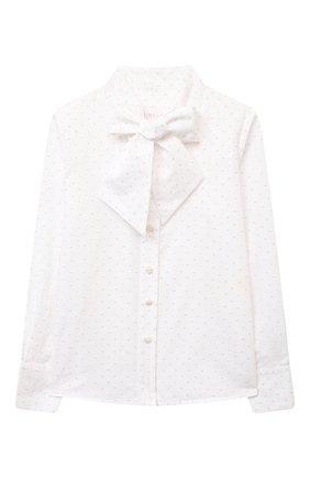 Детское хлопковая блузка EIRENE белого цвета, арт. 202165   Фото 1