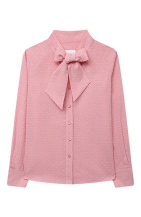 Детское хлопковая блузка EIRENE розового цвета, арт. 202169   Фото 1