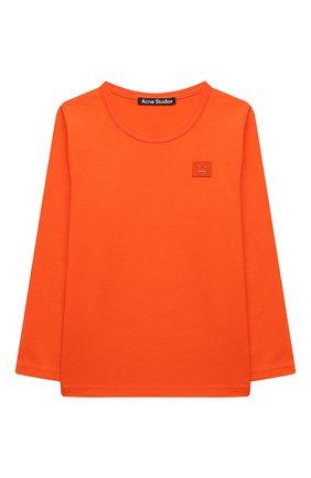 Детская хлопковый лонгслив ACNE STUDIOS оранжевого цвета, арт. 2NI173   Фото 1