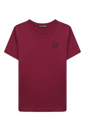 Детская хлопковая футболка ACNE STUDIOS бордового цвета, арт. 2NH173 | Фото 1