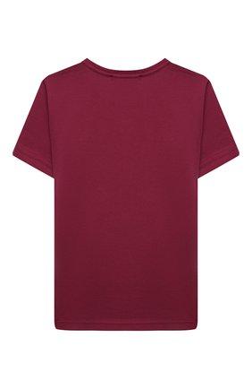 Детская хлопковая футболка ACNE STUDIOS бордового цвета, арт. 2NH173 | Фото 2