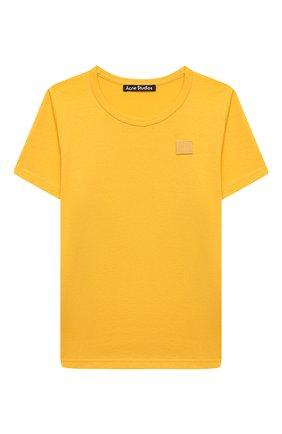 Детская хлопковая футболка ACNE STUDIOS желтого цвета, арт. 2NH173 | Фото 1