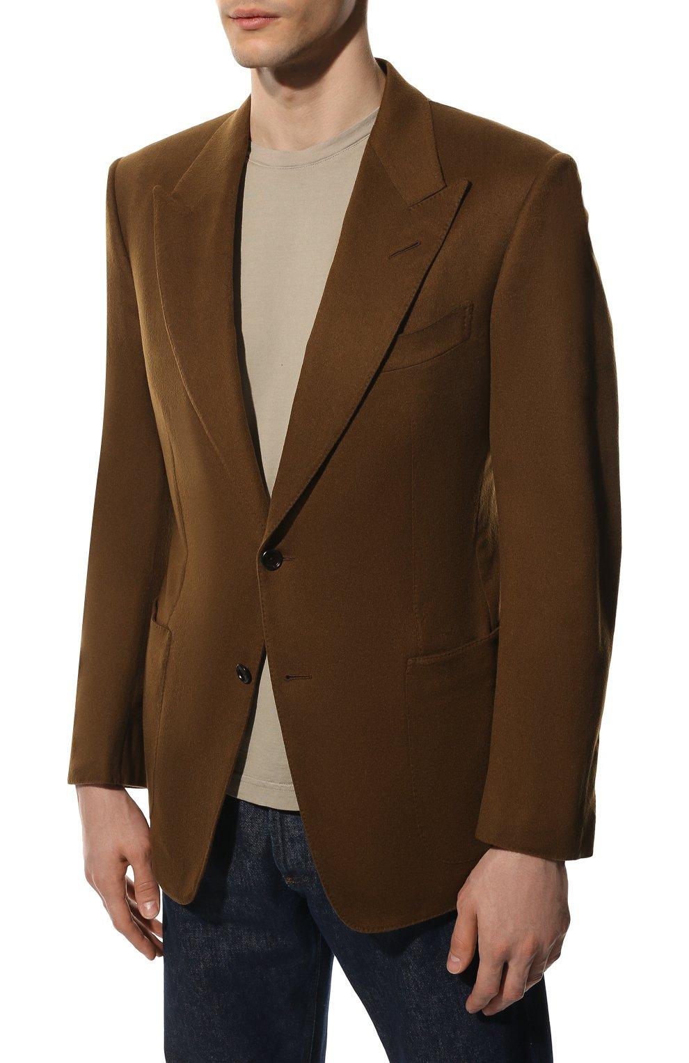 Мужской кашемировый пиджак TOM FORD светло-коричневого цвета, арт. Q29R12/15HA40 | Фото 3