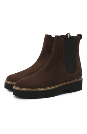 Женские комбинированные ботинки TOD'S темно-коричневого цвета, арт. XXW80C0DR70RE0 | Фото 1