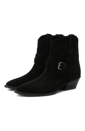 Женские замшевые ботинки west SAINT LAURENT черного цвета, арт. 630685/1NZ00 | Фото 1