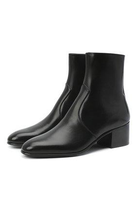 Женские кожаные ботильоны james SAINT LAURENT черного цвета, арт. 632502/1YU00   Фото 1 (Материал внутренний: Натуральная кожа; Подошва: Плоская; Каблук тип: Устойчивый; Каблук высота: Низкий)