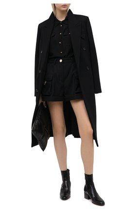Женские кожаные ботильоны james SAINT LAURENT черного цвета, арт. 632502/1YU00   Фото 2 (Материал внутренний: Натуральная кожа; Подошва: Плоская; Каблук тип: Устойчивый; Каблук высота: Низкий)