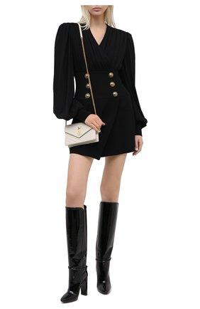 Женские кожаные сапоги 76 SAINT LAURENT черного цвета, арт. 633727/1TV00   Фото 2