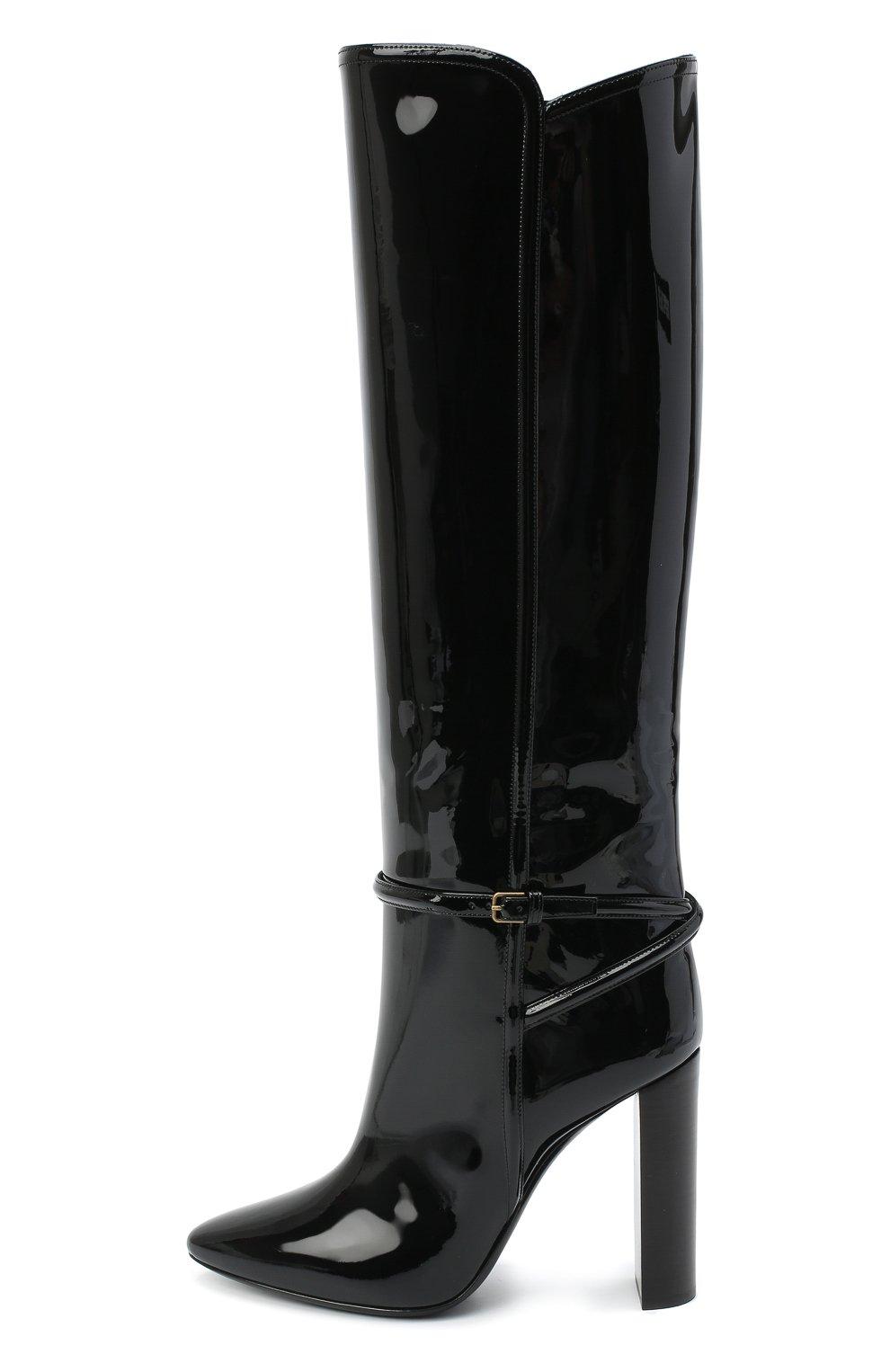 Женские кожаные сапоги 76 SAINT LAURENT черного цвета, арт. 633727/1TV00   Фото 3