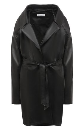 Женское кожаное пальто BALENCIAGA черного цвета, арт. 640982/TES07   Фото 1