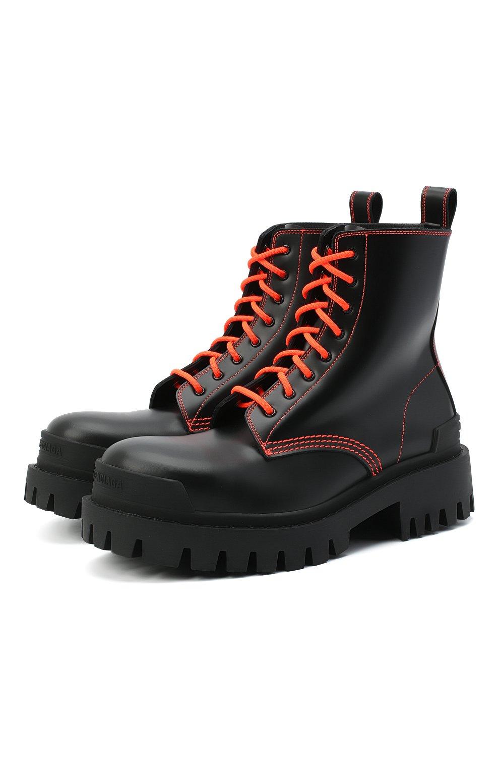 Женские кожаные ботинки 20 мм strike BALENCIAGA черного цвета, арт. 590974/WA964   Фото 1