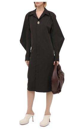 Женское хлопковое платье BOTTEGA VENETA темно-коричневого цвета, арт. 641290/VA5Y0 | Фото 2