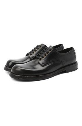 Мужской кожаные дерби DOLCE & GABBANA черного цвета, арт. A10638/AW765 | Фото 1
