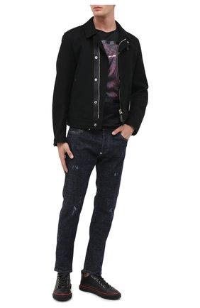 Мужские кожаные кеды blabber GIUSEPPE ZANOTTI DESIGN черного цвета, арт. RU00008/002 | Фото 2