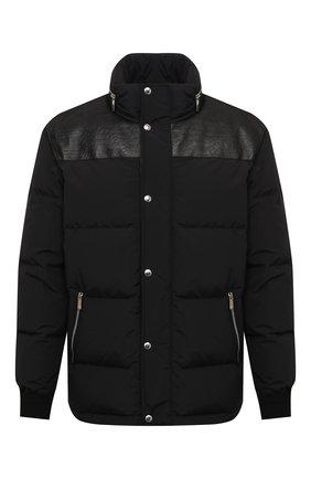 Мужская пуховая куртка с кожаной отделкой BERLUTI черного цвета, арт. R180BL90-001   Фото 1