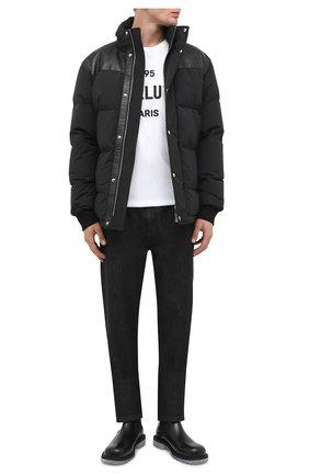 Мужская пуховая куртка с кожаной отделкой BERLUTI черного цвета, арт. R180BL90-001   Фото 2