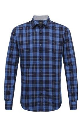 Мужская хлопковая рубашка BOSS темно-синего цвета, арт. 50435501 | Фото 1