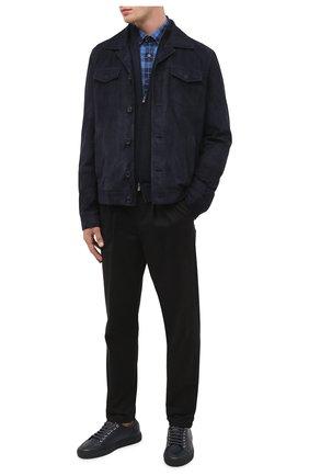 Мужская хлопковая рубашка BOSS темно-синего цвета, арт. 50435501 | Фото 2