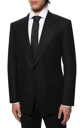 Мужской шерстяной костюм TOM FORD темно-синего цвета, арт. Q31R14/21AL43   Фото 2 (Материал подклада: Шелк, Купро; Материал внешний: Шерсть; Рукава: Длинные; Костюмы М: Однобортный; Стили: Классический)