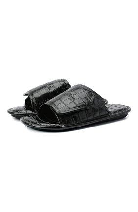 Мужские кожаные шлепанцы BALENCIAGA черного цвета, арт. 615770/WA9D7 | Фото 1 (Материал внутренний: Натуральная кожа)