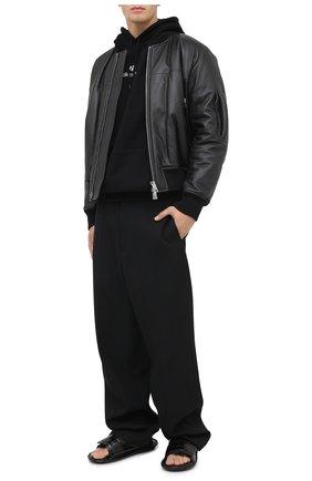 Мужские кожаные шлепанцы BALENCIAGA черного цвета, арт. 615770/WA9D7 | Фото 2 (Материал внутренний: Натуральная кожа)