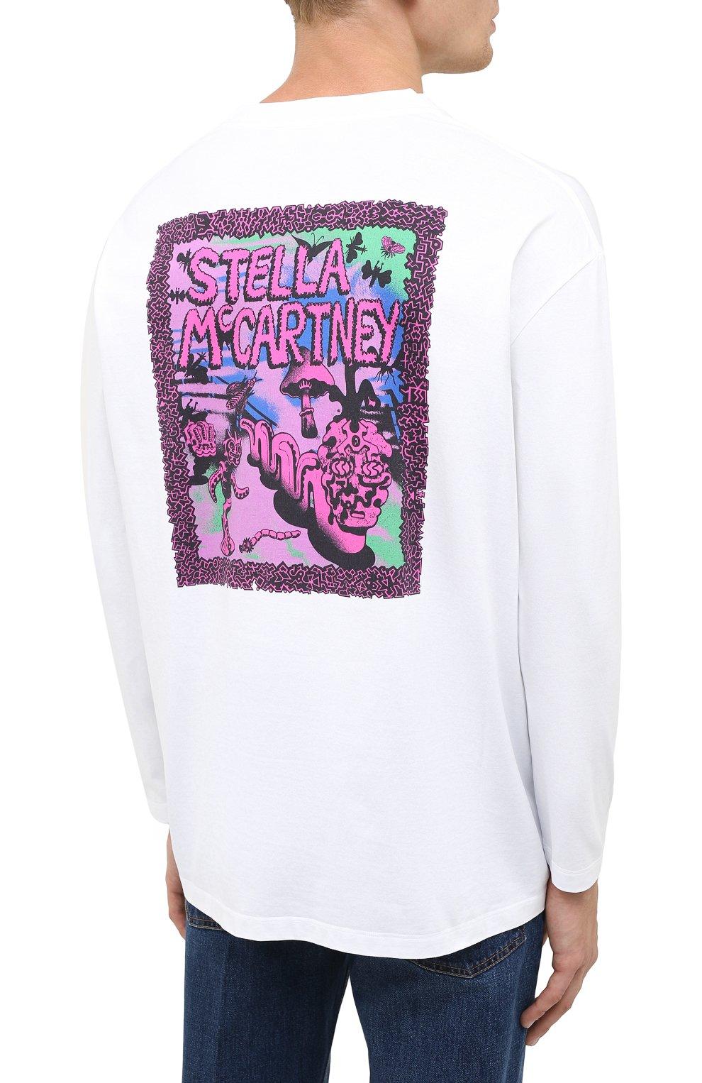 Мужская хлопковый лонгслив STELLA MCCARTNEY белого цвета, арт. 601816/SMP81 | Фото 4