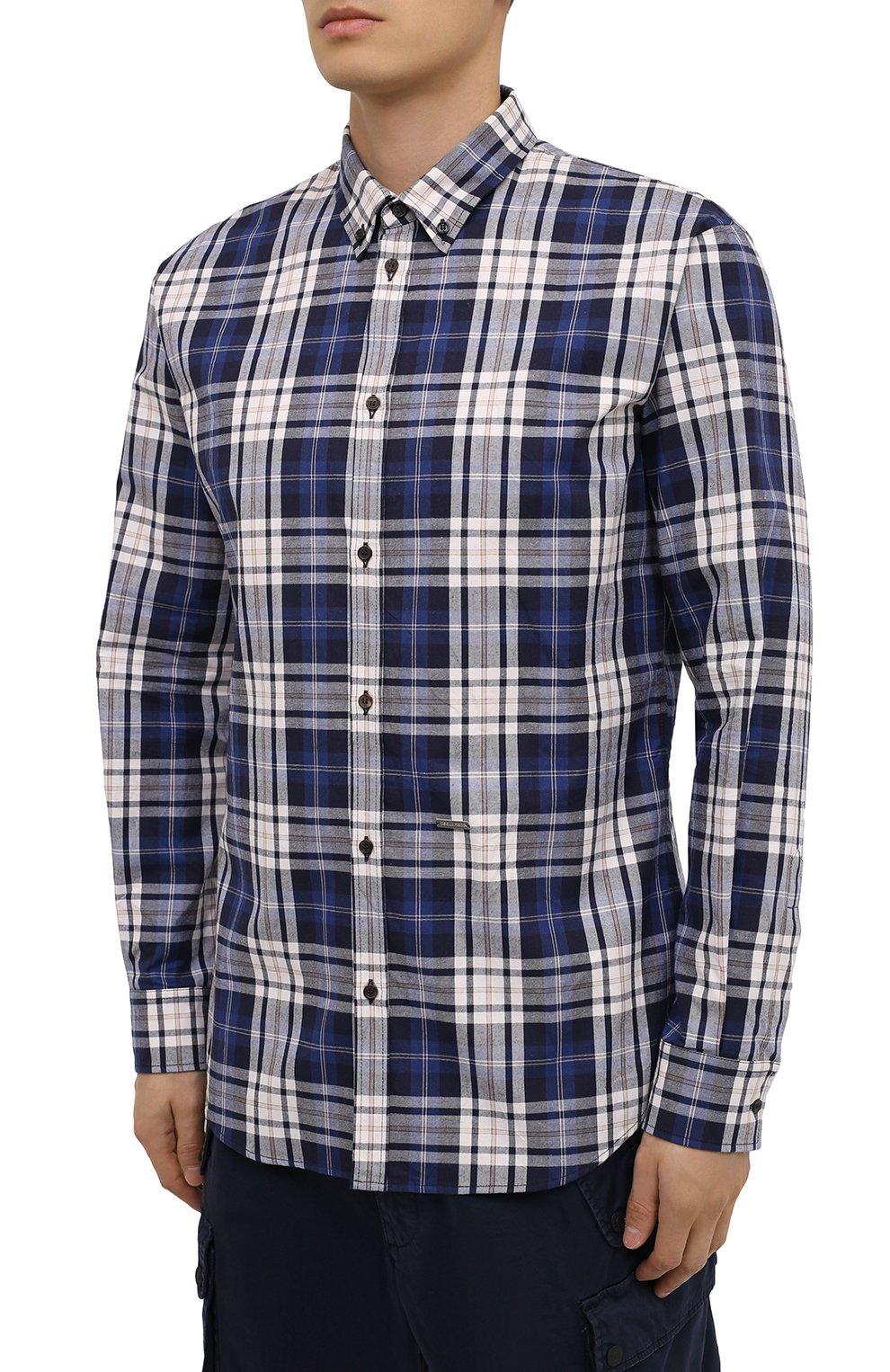 Мужская хлопковая рубашка DSQUARED2 разноцветного цвета, арт. S74DM0455/S53027   Фото 3
