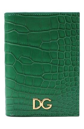 Женские обложка для паспорта из кожи аллигатора DOLCE & GABBANA зеленого цвета, арт. BI2215/B2DG9/AMIS | Фото 1
