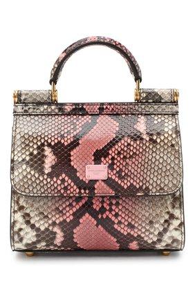 Женская сумка sicily из кожи питона DOLCE & GABBANA розового цвета, арт. BB6846/A2V35/PRET | Фото 1