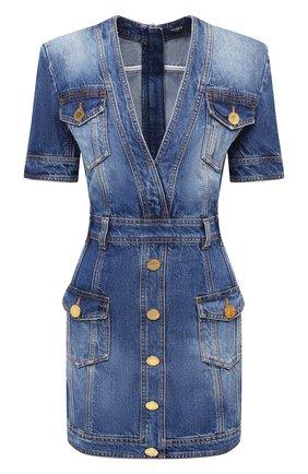 Женское джинсовое платье BALMAIN синего цвета, арт. UF16132/D057 | Фото 1