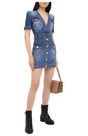 Женское джинсовое платье BALMAIN синего цвета, арт. UF16132/D057 | Фото 2
