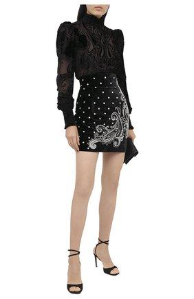 Женская блузка из вискозы BALMAIN черного цвета, арт. UF12682/V121   Фото 2