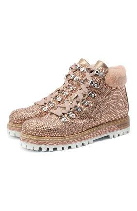 Женские кожаные ботинки LE SILLA розового цвета, арт. 7510M040M1MMBUR | Фото 1