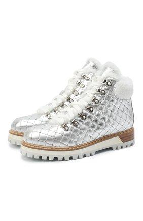 Женские кожаные ботинки st. moritz LE SILLA серебряного цвета, арт. 7514P040M1MMBUK | Фото 1