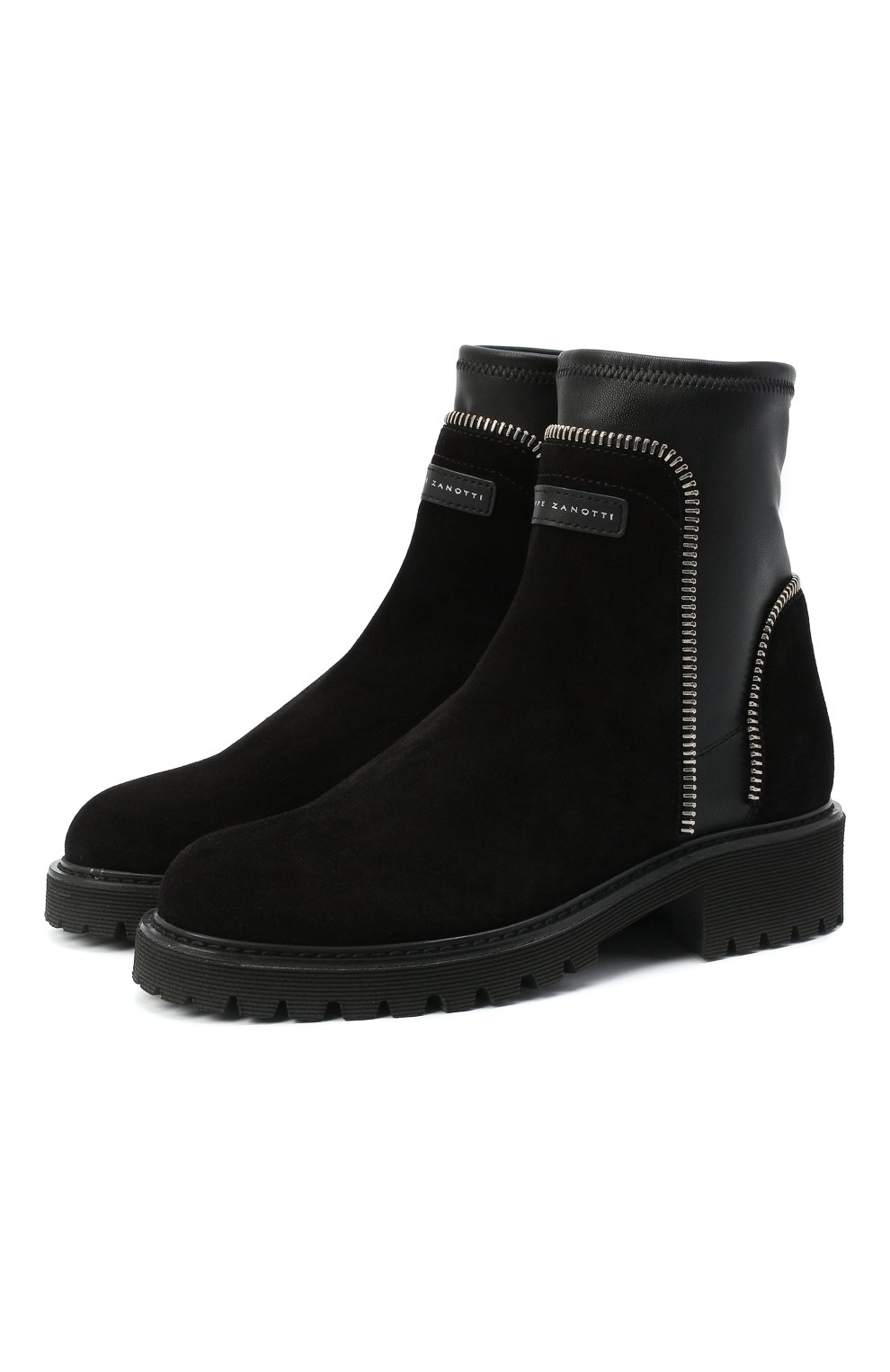 Женские комбинированные ботинки rodger GIUSEPPE ZANOTTI DESIGN черного цвета, арт. I070011/002 | Фото 1