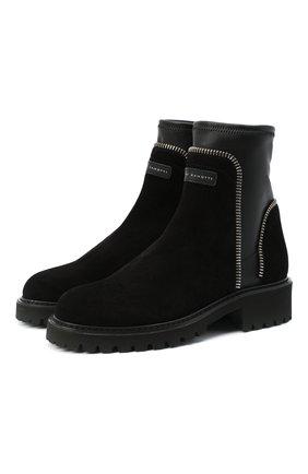 Женские замшевые ботинки rodger GIUSEPPE ZANOTTI DESIGN черного цвета, арт. I070011/002 | Фото 1