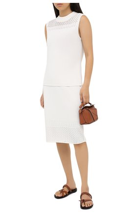 Женская юбка из вискозы и хлопка ST. JOHN белого цвета, арт. K71Z003   Фото 2
