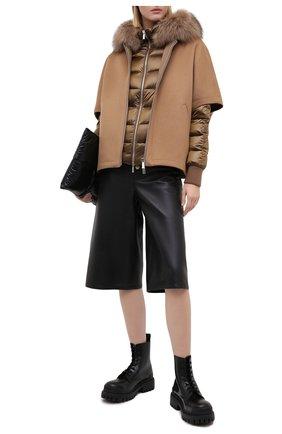 Женский комплект из шерстяной накидки и пуховой куртки MOORER бежевого цвета, арт. PEGAS0-CWR/A20D272CASW   Фото 2