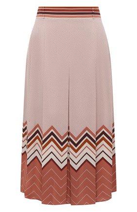 Женская шелковая юбка LORO PIANA розового цвета, арт. FAL3455 | Фото 1