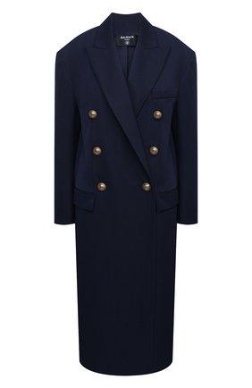 Женское шерстяное пальто BALMAIN темно-синего цвета, арт. UF09578/132L | Фото 1