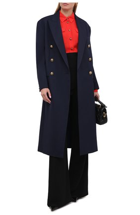Женское шерстяное пальто BALMAIN темно-синего цвета, арт. UF09578/132L | Фото 2