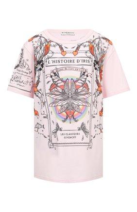Женская хлопковая футболка GIVENCHY светло-розового цвета, арт. BW707Z3Z3V   Фото 1