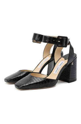 Женская кожаные туфли jinn 85 JIMMY CHOO черного цвета, арт. JINN 85/CCL   Фото 1